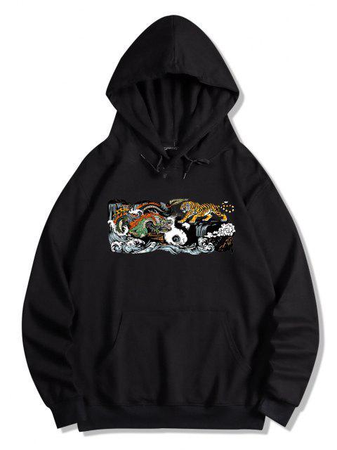 trendy Kangaroo Pocket Dragon Tiger Print Hoodie - BLACK S Mobile