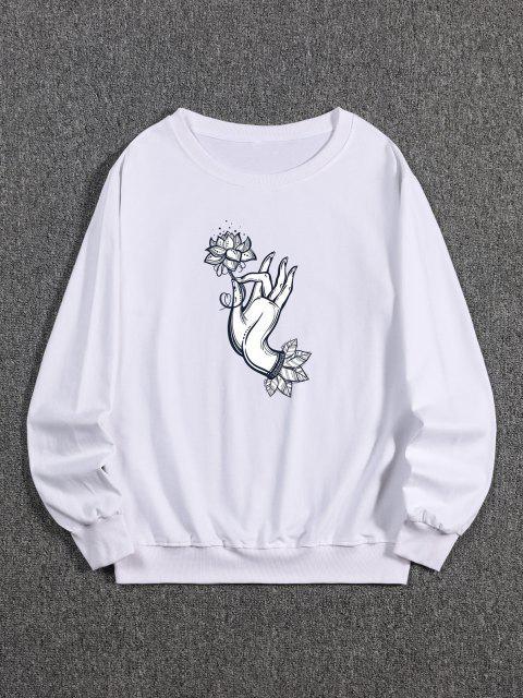Blumen Handdruck Kapuze Sweatshirt - Weiß M Mobile