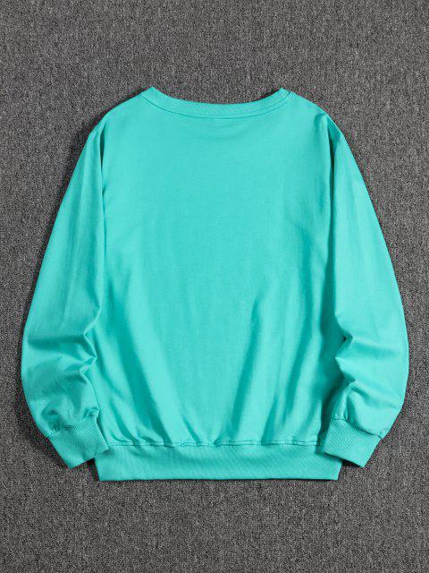 Sweat-shirt Pull-over Fleur en Main Imprimée - Turquoise Moyenne  XL Mobile