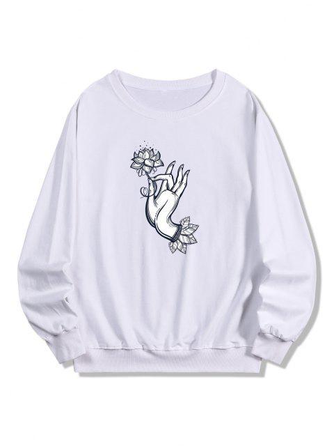 shop Flower Hand Print Pullover Sweatshirt - WHITE 2XL Mobile