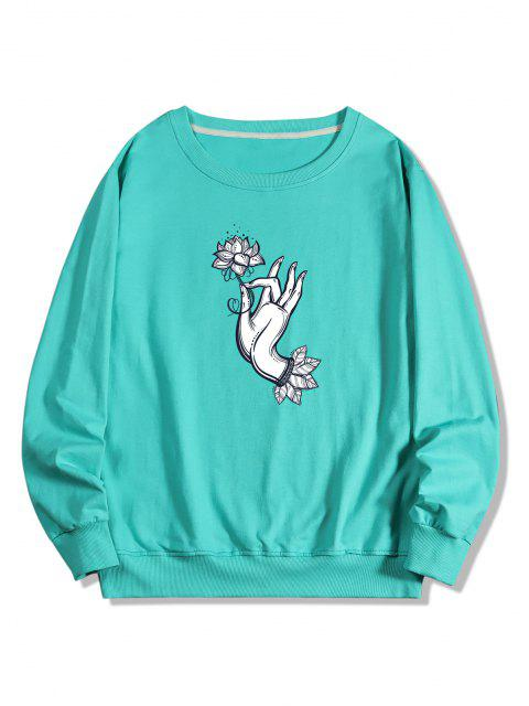 Sweat-shirt Pull-over Fleur en Main Imprimée - Turquoise Moyenne  S Mobile