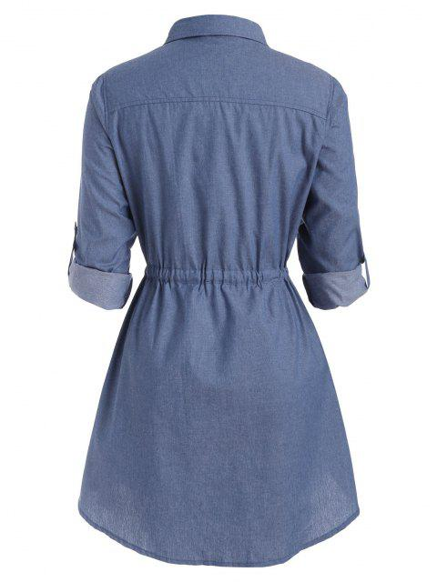 hot Plus Size Roll Sleeve Chambray Snap Button Shirt Dress - BLUE L Mobile