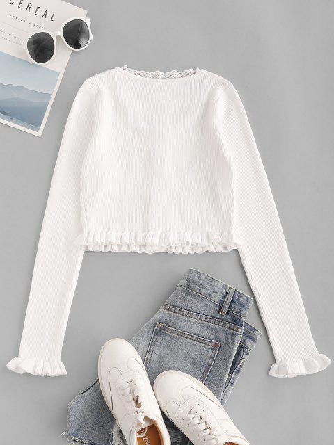 Blusa malha com nervuras Slim - Branco L Mobile