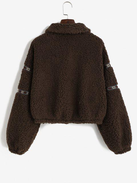 ZAFUL Tribal Tape Drop Shoulder Pocket Teddy Coat - القهوة العميقة XL Mobile
