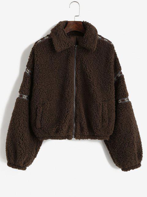 fancy ZAFUL Tribal Tape Drop Shoulder Pocket Teddy Coat - DEEP COFFEE L Mobile