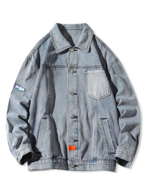 buy Letter Pocket Patch Jean Jacket - BLUE M Mobile