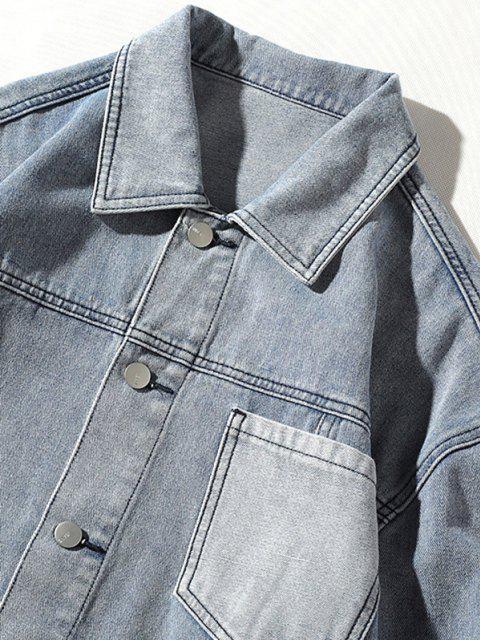 Veste Lettre Patch avec Poche en Denim - Bleu 3XL Mobile