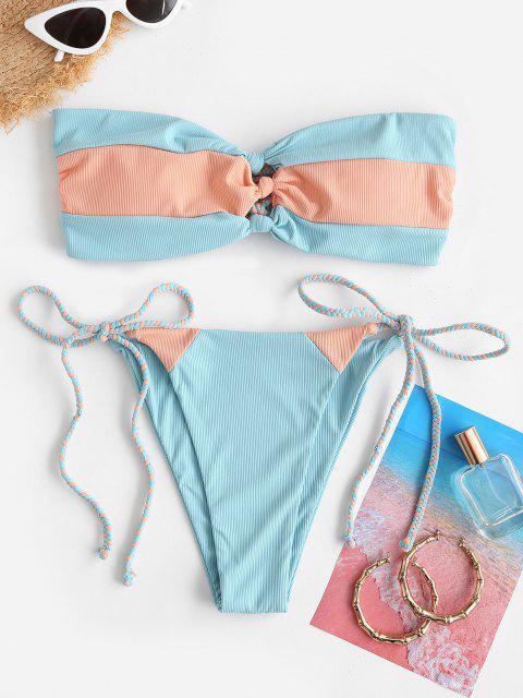 shop ZAFUL Ribbed Colorblock Braided Bow Bandeau Bikini Swimwear - LIGHT BLUE M Mobile
