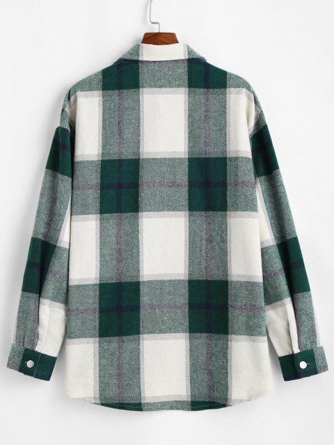 women's Plaid Pattern Flap Pocket Shirt Jacket - DEEP GREEN L Mobile
