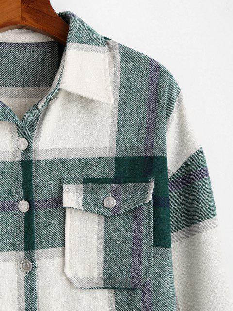 womens Plaid Pattern Flap Pocket Shirt Jacket - DEEP GREEN 2XL Mobile