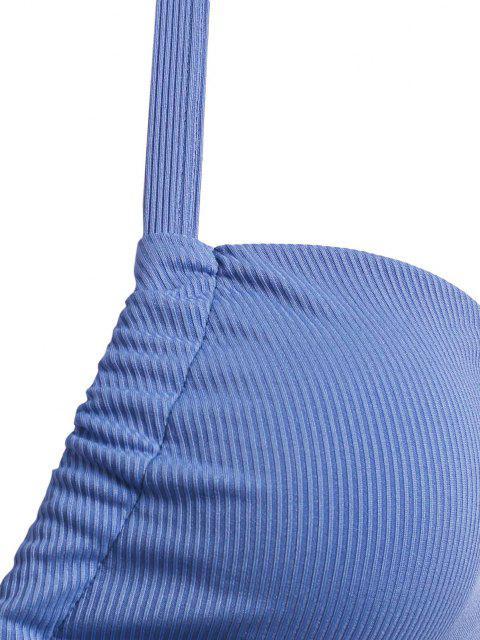 ZAFUL Top de Biquíni com Nervuras Cruzadas com Tamanho Grande - Azul XL Mobile