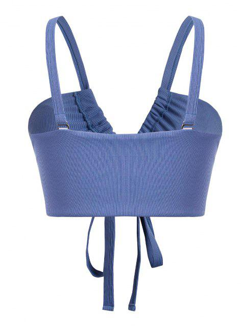 trendy ZAFUL Plus Size Front Lace-up Ribbed Bikini Top - BLUE XXL Mobile