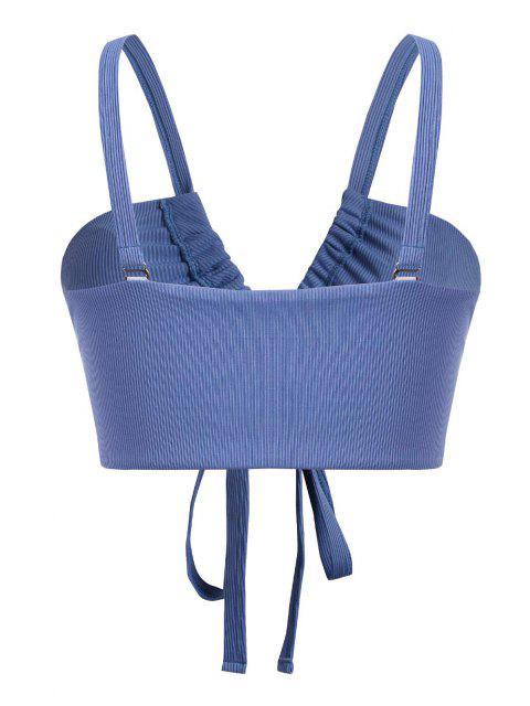 fashion ZAFUL Plus Size Front Lace-up Ribbed Bikini Top - BLUE XXXL Mobile