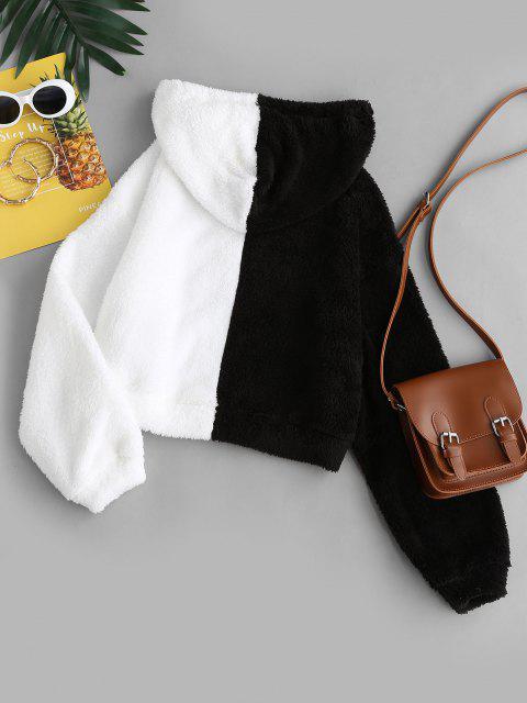 women's ZAFUL Plush Colorblock Cropped Hoodie - WHITE L Mobile
