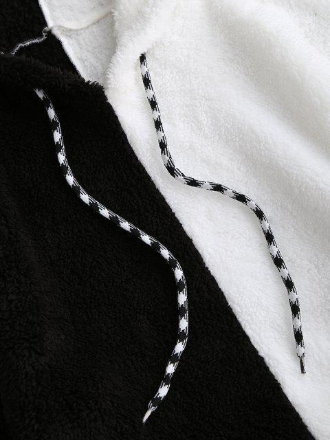 ZAFUL Sweat à Capuche Court en Blocs de Couleurs en Peluche - Blanc S Mobile