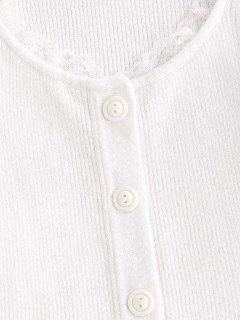 shops Lace Trim Frilled Ribbed Slim Knitwear - WHITE S Mobile