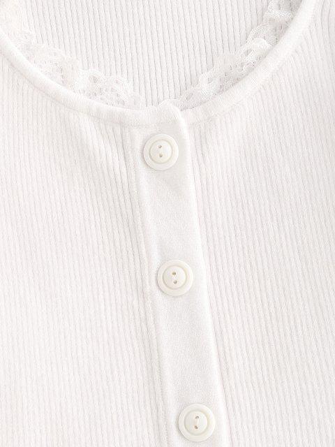 Tricot Moulant Côtelé à Ourlet en Dentelle à Volants - Blanc M Mobile