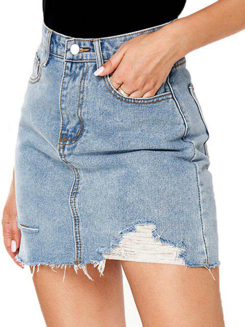 shops Ripped Pocket Bodycon Denim Skirt - BLUE L Mobile