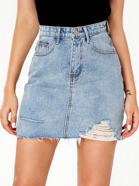 women Ripped Pocket Bodycon Denim Skirt - BLUE M Mobile