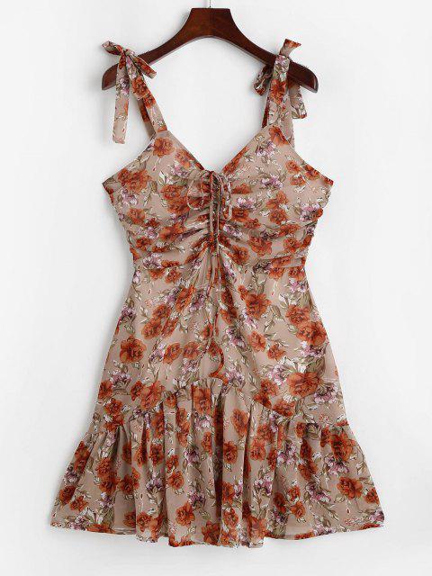 online Flower Tie Shoulder Cinched Flounce Hem Dress - LIGHT COFFEE S Mobile