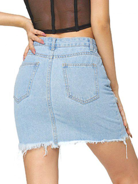 buy Distressed Zip Fly Bodycon Denim Skirt - LIGHT BLUE S Mobile