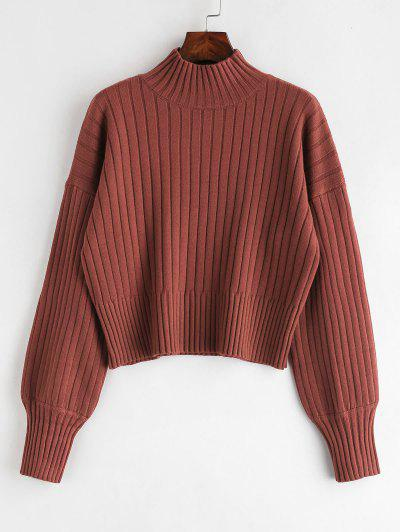 Dropped Shoulder Mock Neck Sweater - Cherry Red