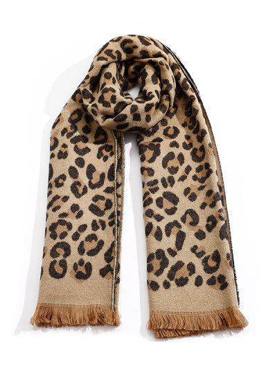 Leopard Print Fringe Long Scarf - Dark Khaki