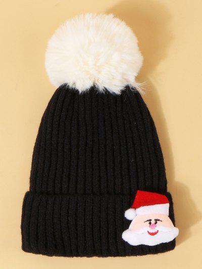 Christmas Santa Pattern Pom Pom Hat - Black