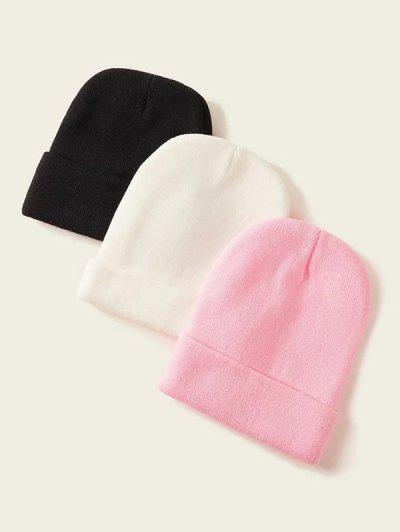 3Pcs Solid Knitted Hat Set - Multi-b