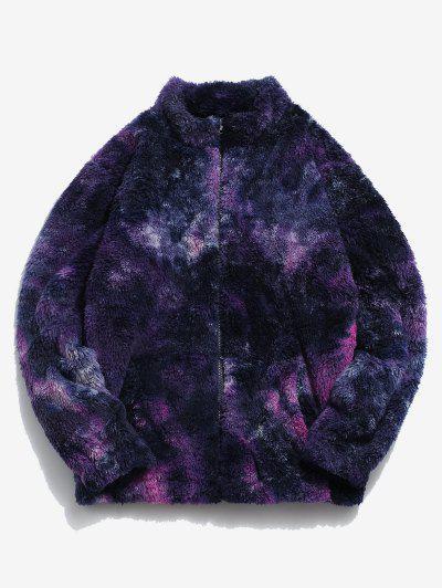 Tie Dye Pattern Zip Up Fluffy Faux Fur Jacket - Dull Purple Xl