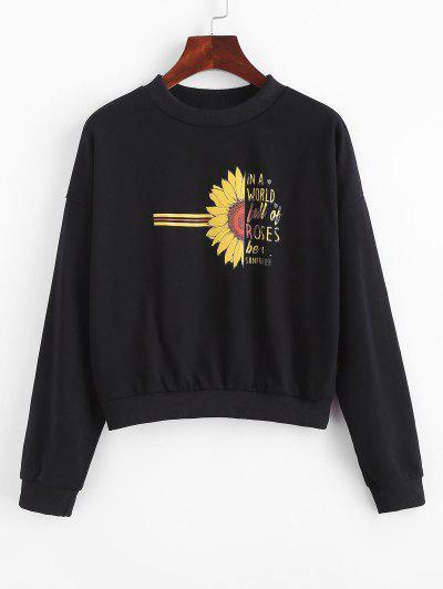 Half Sunflower Letter Graphic Sweatshirt - Black Xl