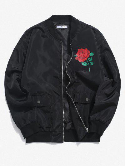 Rose Flower Pattern Flap Pocket Jacket - Black Xl