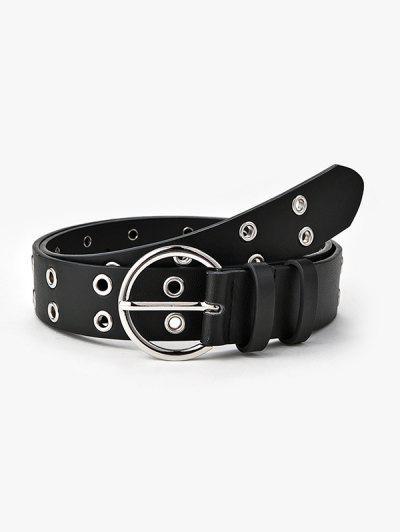 Double Row Grommet Round Buckle Belt - Black