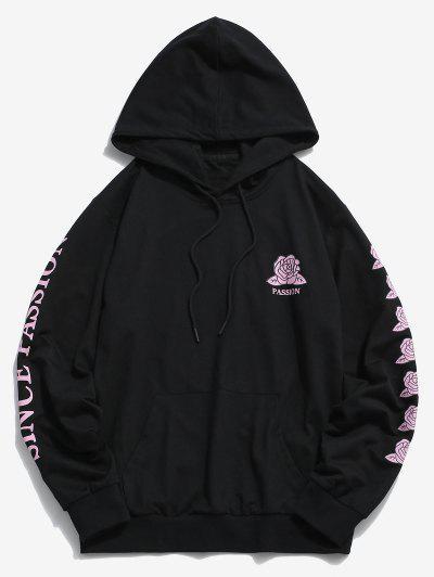 ZAFUL Rose Passion Pattern Hoodie - Black Xl