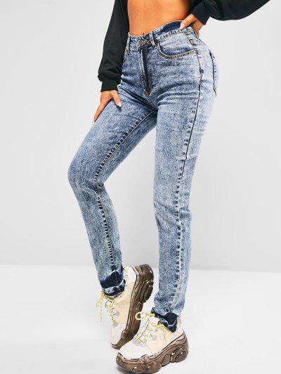 High Waisted Frayed Hem Skinny Jeans - Blue M