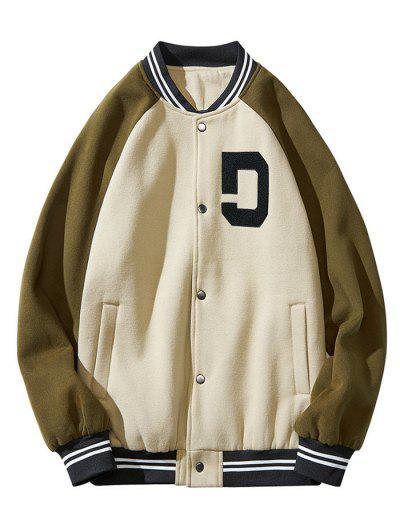 Colorblock Panel Raglan Sleeve Baseball Jacket - Green Xl