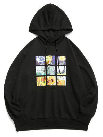 ZAFUL Van Gogh Galaxy Sunflower Print Front Pocket Hoodie - Black L