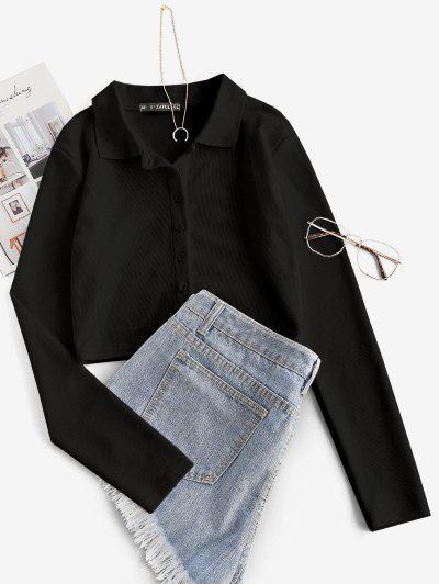 Camiseta Corta Acanalada Con Botones - Negro S