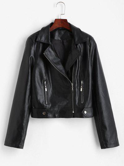 Padded Shoulder Zippered Faux Leather Biker Jacket - Black M
