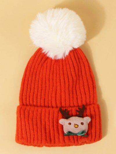 Sombrero De Pom De Navidad De Patrón De Alce - Naranja Brillante