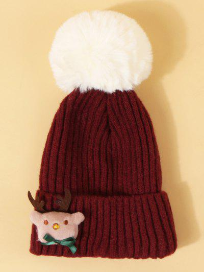 Christmas Elk Design Pom Pom Hat - Red Wine