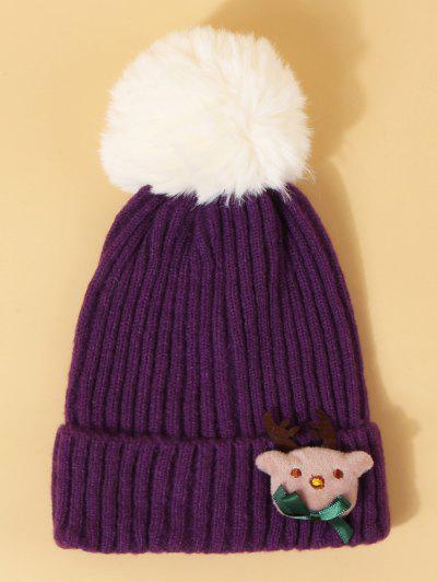 Christmas Elk Design Pom Pom Hat - Purple Iris
