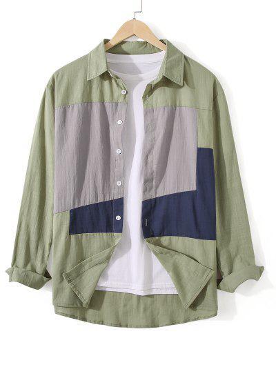 Button Down Colorblock Casual Shirt - Dark Sea Green Xl