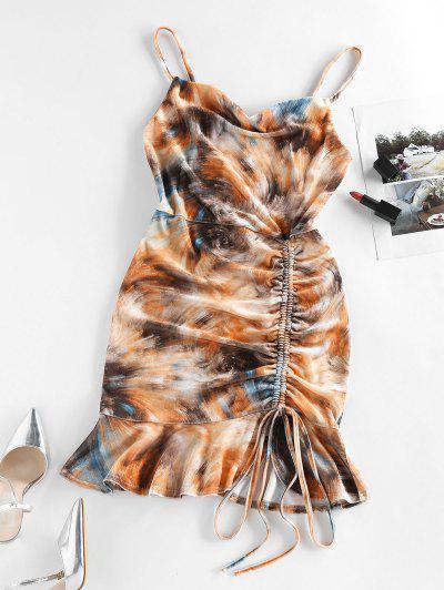 ZAFUL Flounce Cinched Mini Bodycon Dress - Sandy Brown S