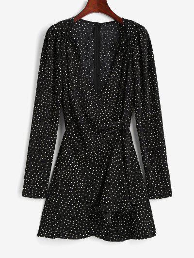 Polka Dot Puff Sleeve Cinched Surplice Dress - Black M