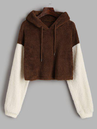 ZAFUL Fluffy Colorblock Plush Cropped Hoodie - Brown Bear M