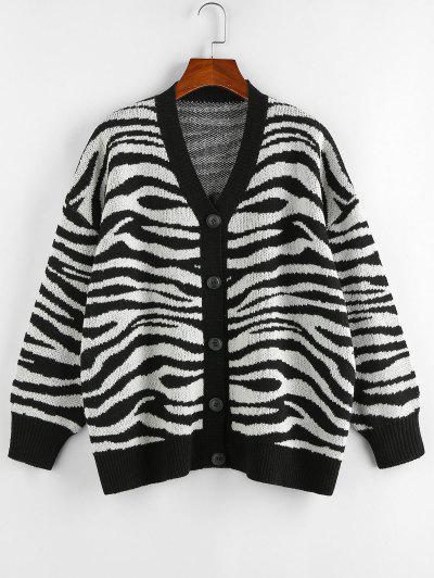 ZAFUL Zebra Print Drop Shoulder Loose Cardigan - Black M