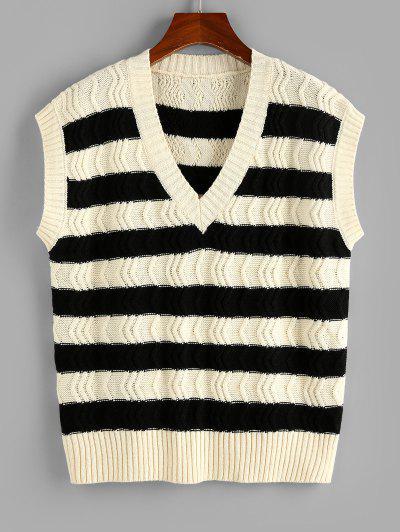 ZAFUL Striped Două Tone V Neck Sweater Vest - Alb L