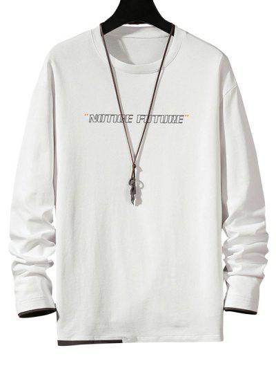Notice Future Contrast Hem Long Sleeve T-shirt - White M