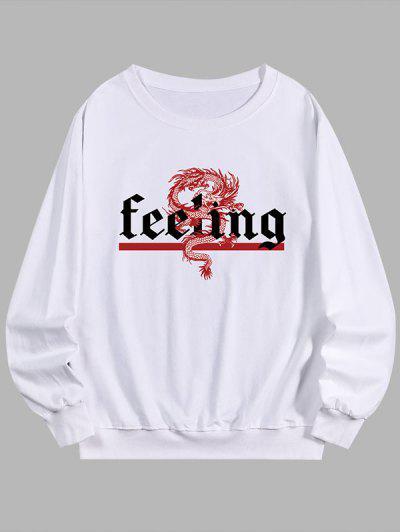 Sweatshirt Mit Buchstabe Drache Druck - Weiß M